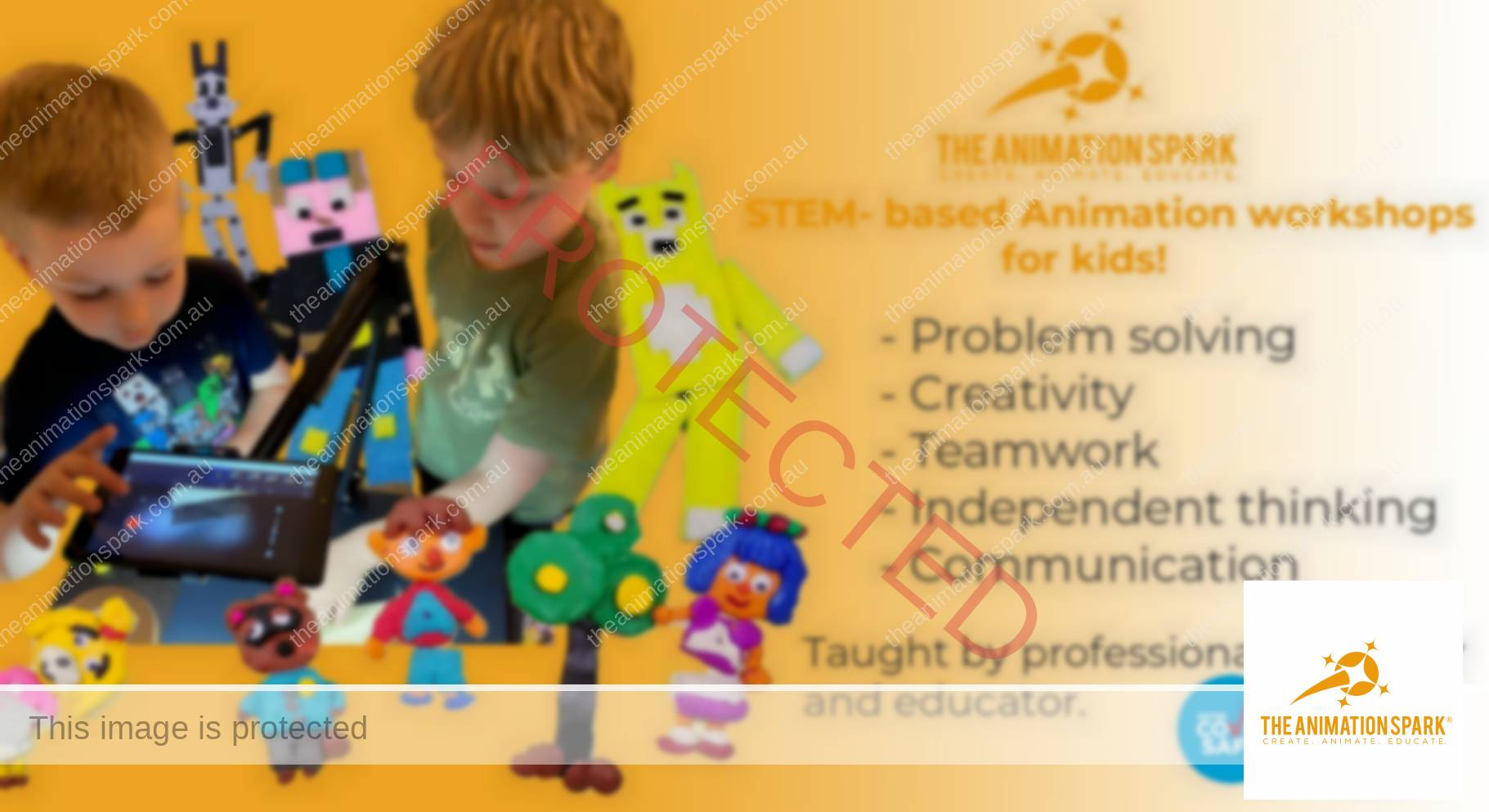 Animation workshops for kids. Children using tablet to animate. Plasticine characters.